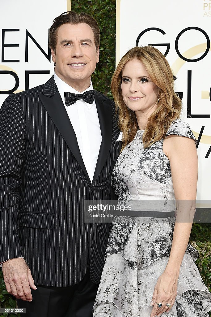 John Travolta and Kelly Preston attend the 74th Annual Golden Globe Awards - Arrivals at The Beverly Hilton Hotel on January 8, 2017 in Beverly Hills, California.