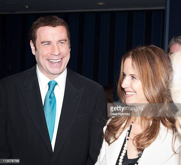 John Travolta and Kelly Preston attend the celebration of Frank Gotti's 21st birthday with the cast of Gotti Three Generations at the Sheraton New...