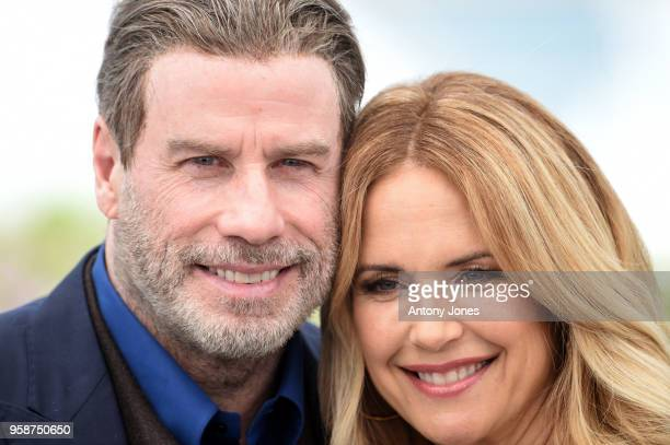 John Travolta and Kelly Preston attend the photocall for Rendezvous With John Travolta Gotti during the 71st annual Cannes Film Festival at Palais...