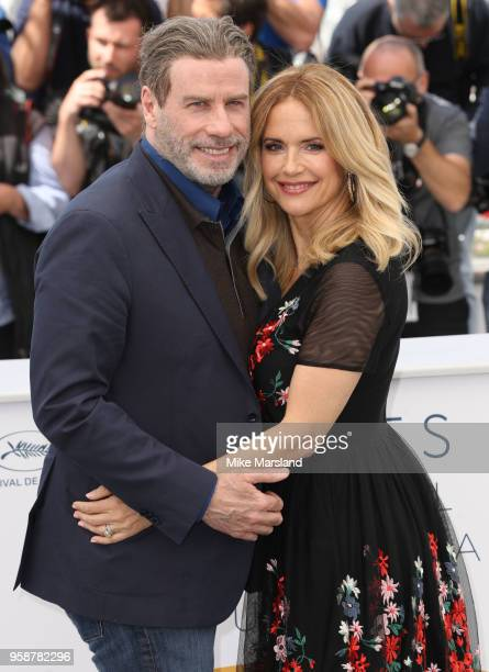 John Travolta and Kelly Preston attend the photocall for the Gotti during the 71st annual Cannes Film Festival at Palais des Festivals on May 15 2018...