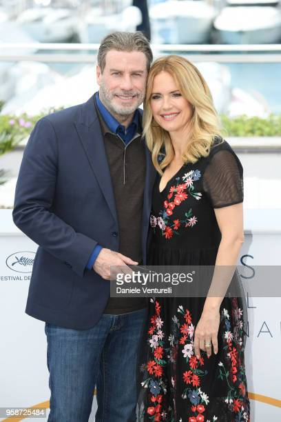 John Travolta and Kelly Preston attend the photocall for the Rendezvous With John Travolta Gotti during the 71st annual Cannes Film Festival at...