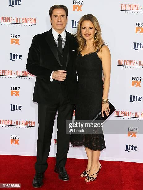 John Travolta and Kelly Preston attend the premiere of FX's 'American Crime Story - The People V. O.J. Simpson' at Westwood Village Theatre on...