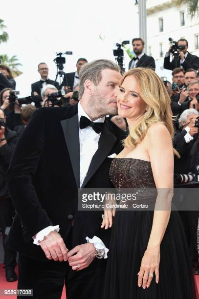 John Travolta and Kelly Preston attends the screening of 'Solo A Star Wars Story' during the 71st annual Cannes Film Festival at Palais des Festivals...