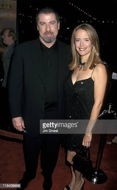 John Travolta and Kelly Preston during 'For Love of The Game' Los Angeled Premiere at Cineplex Odeon in Century City California United States