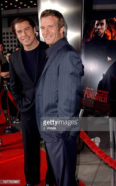 """John Travolta and Thomas Jane during """"The Punisher"""" Los Angeles Premiere - Red Carpet at ArcLight Theater in Hollywood, California, United States."""