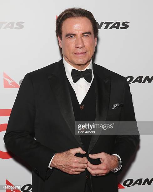 John Travolta arrives at the QANTAS 95th Birthday Gala Celebration at Hangar 96 in the Qantas Jetbase on November 20 2015 in Sydney Australia