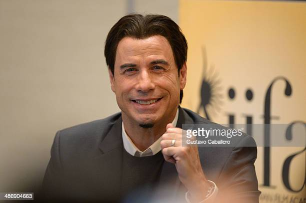 John Travolta attends a press conference during the IIFA Awards week at Hilton Tampa Downtown on April 26 2014 in Tampa Florida