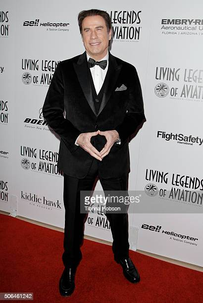 John Travolta attends the 13th Annual Living Legends of Aviation Awards at The Beverly Hilton Hotel on January 22 2016 in Beverly Hills California
