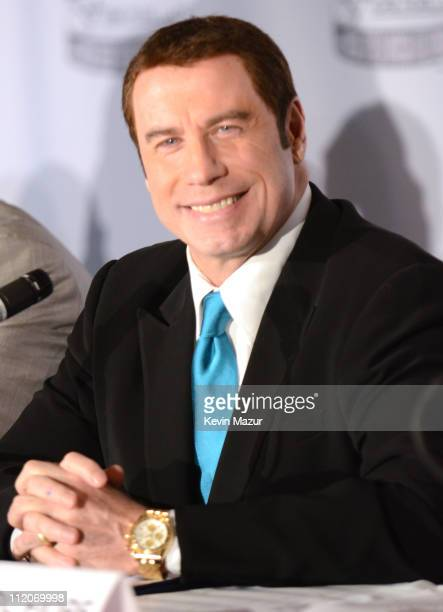 John Travolta attends the 'Gotti Three Generations' press conference at Sheraton New York Hotel Towers Central Park West Room on April 12 2011 in New...