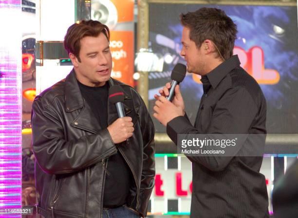 John Travolta during John Travolta Visits and Katharine McPhee Guest Hosts MTV's 'TRL' February 22 2007 at MTV Studios Times Square in New York City...