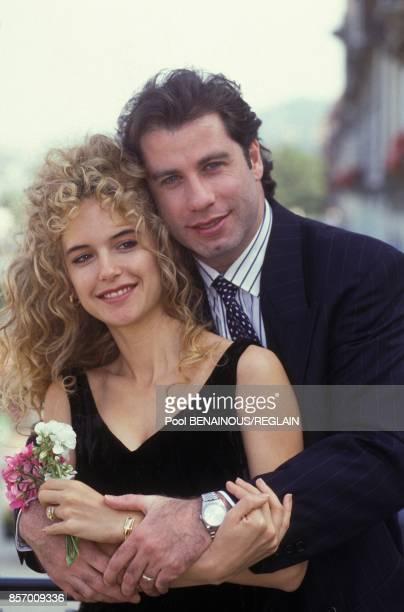 John Travolta et sa fiancee l'actrice Kelly Preston au Festival du Cinema Americain le 8 septembre 1991 a Deauville France