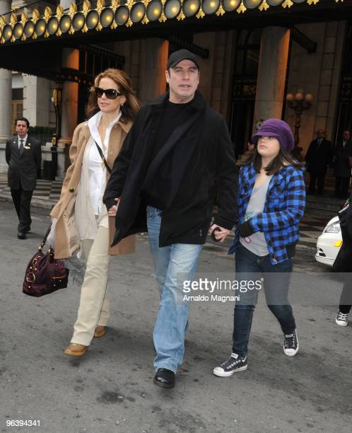 John Travolta , his wife Kelly Preston and their daughter Ella Travolta are seen on February 3, 2010 in New York City.