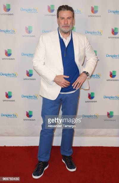 John Travolta is seen on the set of Despierta America at Univision Studios to promote the film GOTTI on June 8 2018 in Miami Florida