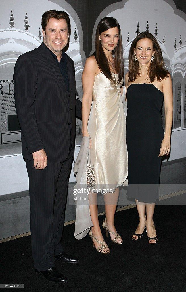 John Travolta, Katie Holmes and Kelly Preston during Giorgio Armani Celebrates 2007 Oscars with Exclusive Prive Show at Green Acres Estates in Beverly Hills, California, United States.