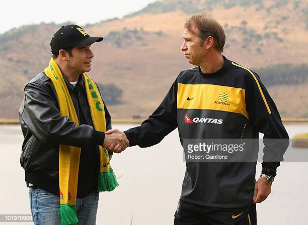 John Travolta Qantas Goodwill Ambassador is greeted by Australian coach Pim Verbeek as the Socceroos prepare ahead of the 2010 FIFA World Cup at...
