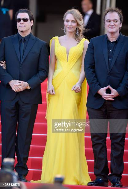 John Travolta Uma Thurman and Quentin Tarantino attend the 'Clouds Of Sils Maria' premiere during the 67th Annual Cannes Film Festival on May 23 2014...