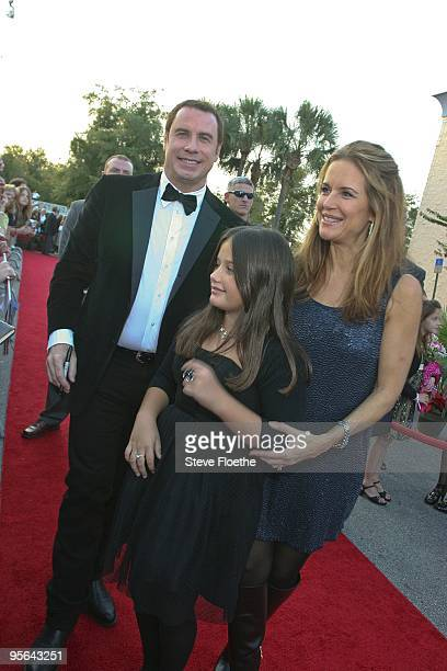 John Travolta wife Kelly Preston and daughter Ella Bleu Travolta attend the Old Dogs premiere on November 20 2009 in Ocala Florida