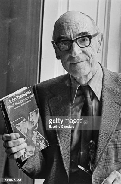 John Trevelyan , the former Secretary of the British Board of Film Censors, with his recent autobiography 'What the Censor Saw', UK, 1st October 1973.