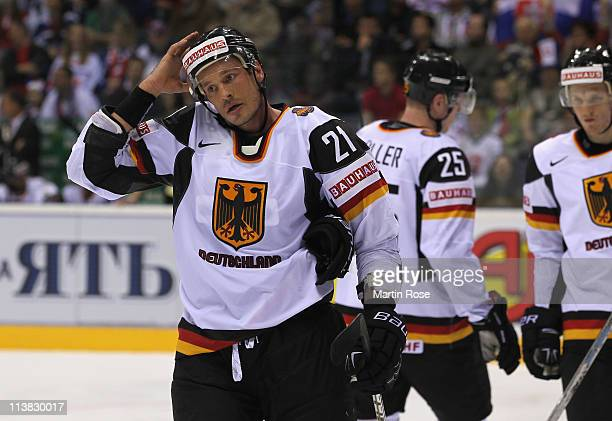 John Tripp of Germany looks dejected during the IIHF World Championship qualification match between Denmark and Germany at Orange Arena on May 7,...