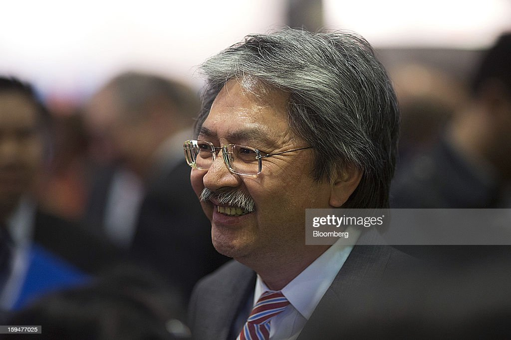 John Tsang Chun-Wah, Hong Kong's financial secretary, attends a cocktail party concluding the first day at the Asian Financial Forum in Hong Kong, China, on Monday, Jan. 14, 2013. The Asian Financial Forum runs until Jan. 15. Photographer: Jerome Favre/Bloomberg via Getty Images