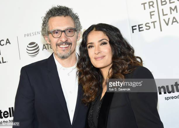 John Turturro and Salma Hayek attend the Tribeca Shorts New York Group Therapy at Regal Battery Park Cinemas on April 21 2017 in New York City