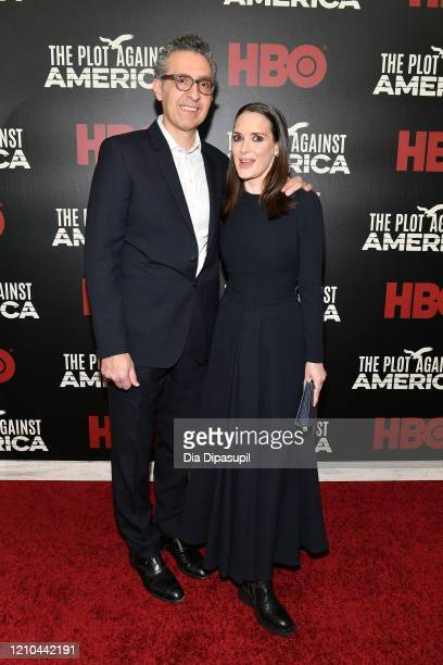 John Turturro and Winona Ryder attend HBO's The Plot Against America premiere at Florence Gould Hall on March 04 2020 in New York City
