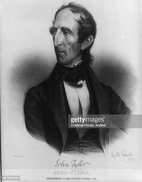 John Tyler President of the United States 1841 from life on stone by Charles Fenderich 1841by Charles Fenderich