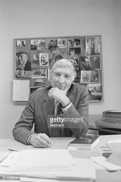 3/22/88 John Updike talks to interviewer at his publisher's office in New York City PH Henny Abrams