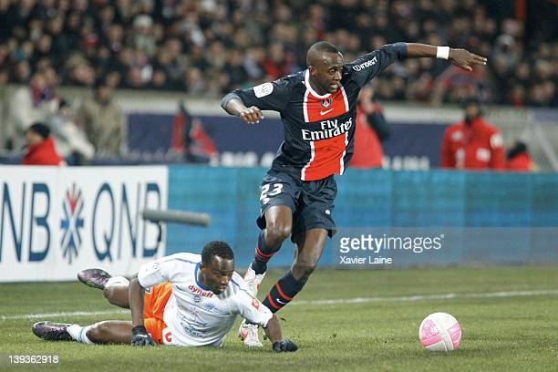 John Utaka of Montpellier Herault and Mohamed Sissoko of Paris Saint Germain during the French Ligue 1 between Paris Saint Germain and Montpellier...