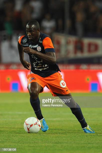 John Utaka of Montpellier Herault SC in action during the Ligue 1 match between Montpellier Herault SC and Toulouse FC at Stade de la Mosson on...