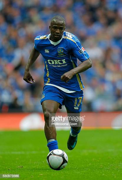 John Utaka of Portsmouth in action during the Cardiff City v Portsmouth FA Cup Final Match at Wembley Stadium , London , UK.