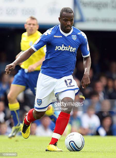 John Utaka of Portsmouth in action during the npower Championship match between Portsmouth and Cardiff City at Fratton Park on August 28, 2010 in...