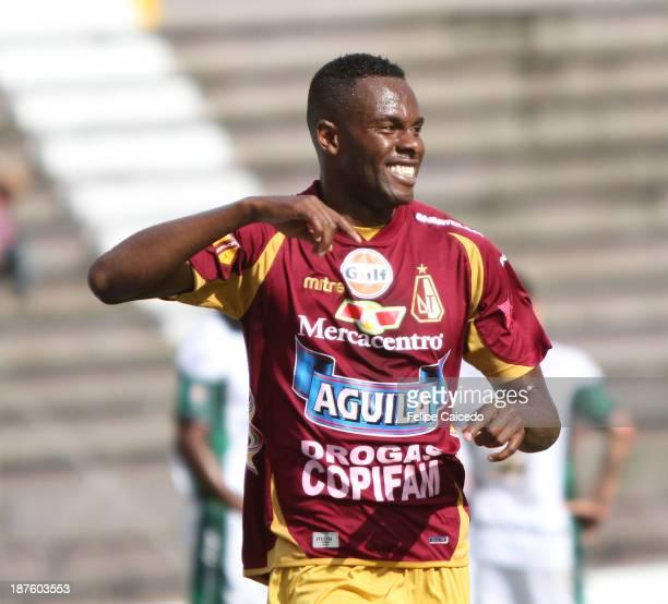 John Valencia of Deportes Tolima celebrates a scored goal against La Equidad during a match between Deportes Tolima and La Equidad as part of the...