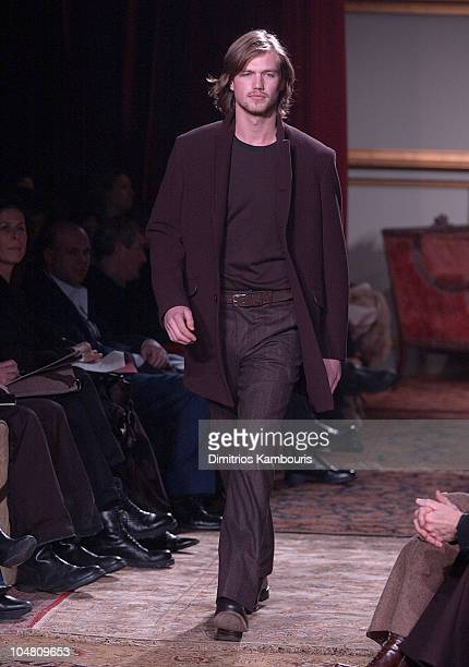 John Varvatos Model during MercedesBenz Fashion Week Fall 2003 Collections John Varvatos Runway at Altman Building in New York City New York United...