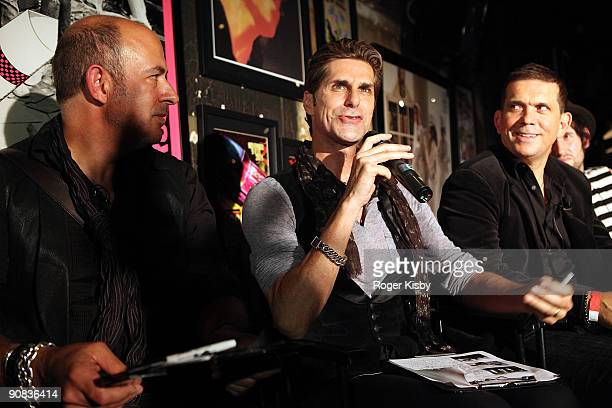 John Varvatos Perry Farrell and Mark Didia judge the battle of the bands at the Free The Noise Party during MercedesBenz Fashion Week Spring 2010 at...