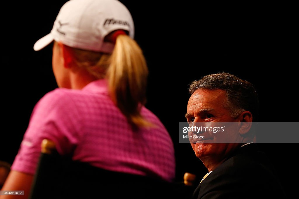 John Veihmeyer, Chairman, KPMG and Stacy Lewis, LPGA Professional speak to the media to announce a KPMG Women's PGA Championship on May 29, 2014 at the NBC Studios in New York City.