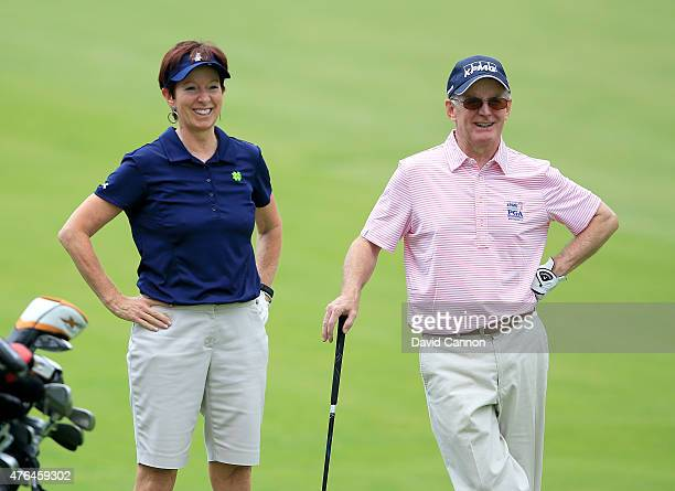 John Veihmeyer the Chairman of KPMG International with Muffet McGraw the Womens Notre Dame basketball coach during the proam as a preview for the...