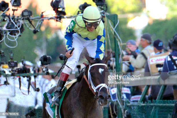 John Velazquez celebrates after winning the Kentucky Derby aboard Always Dreaming on Kentucky Derby Day at Churchill Downs on May 6 2017 in...