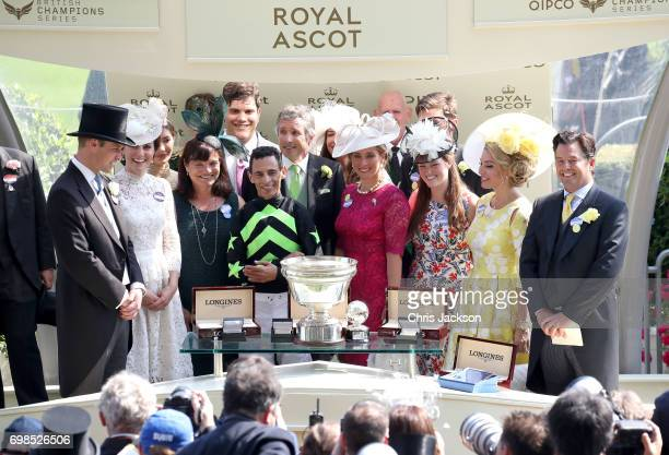 John Velazquez is presented the King's Stand Stakes trophy by Catherine Duchess of Cambridge and Prince William Duke of Cambridge at Royal Ascot 2017...