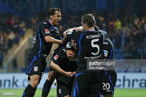 John Verhoek of Frankfurt celebrates his team's first goal with his team mates during the Second Bundesliga match between FSV Frankfurt and VfR Aalen...