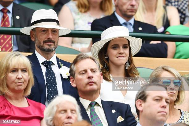 John Vosler and Emma Watson attend day twelve of the Wimbledon Lawn Tennis Championships at All England Lawn Tennis and Croquet Club on July 14 2018...