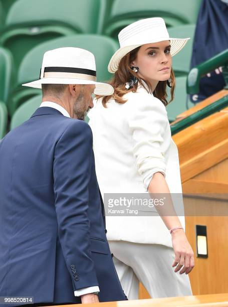 John Vosler and Emma Watson attend day twelve of the Wimbledon Tennis Championships at the All England Lawn Tennis and Croquet Club on July 14 2018...