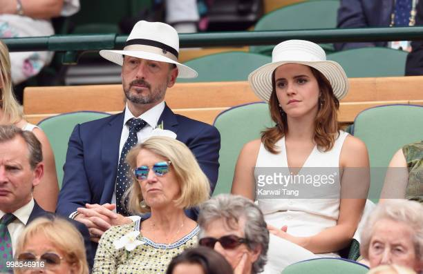 John Vosler and Emma Watson attends day twelve of the Wimbledon Tennis Championships at the All England Lawn Tennis and Croquet Club on July 13 2018...