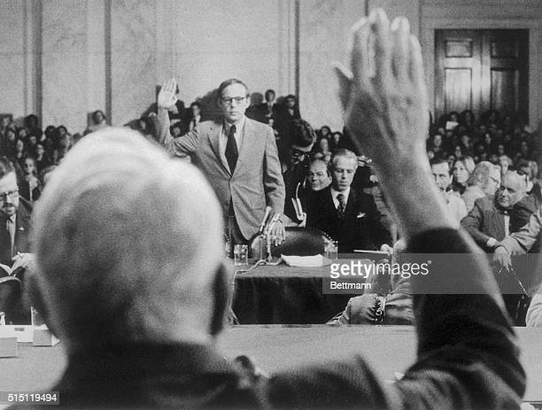 John W Dean III the fired White House Counsel is sworn in 6/25 as the Senate Watergate Committee resumes its investigation of the Watergate affair...