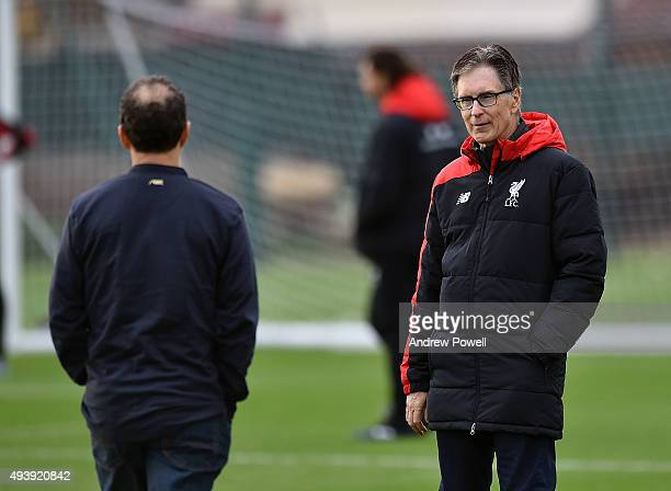 John W Henry and Tom Werner part owners of Liverpool during a training session at Melwood Training Ground on October 23 2015 in Liverpool England