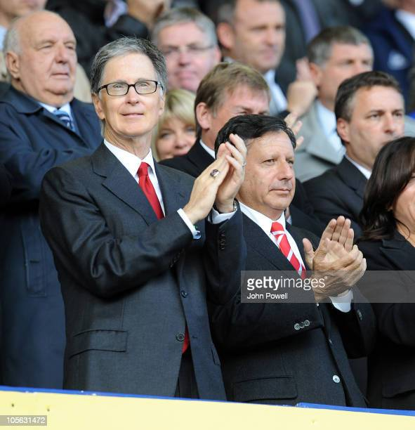 John W Henry new owner of Liverpool FC during the Barclays Premier League match between Everton and Liverpool at Goodison Park on October 17, 2010 in...