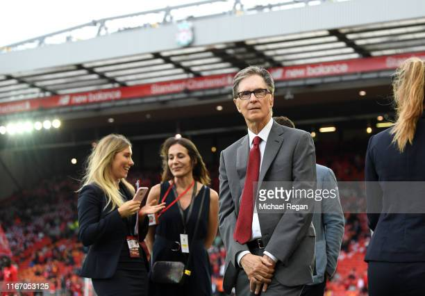 John W. Henry, owner of Liverpool ahead of the Premier League match between Liverpool FC and Norwich City at Anfield on August 09, 2019 in Liverpool,...