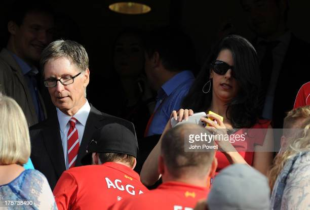 John W Henry owner of Liverpool and wife Linda Pizzuti watches during a Pre Season Friendly between Valarenga and Liverpool at Ullevaal Stadion on...