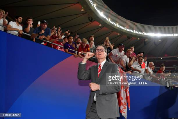 John W. Henry, owner of Liverpool celebrates after the UEFA Champions League Final between Tottenham Hotspur and Liverpool at Estadio Wanda...