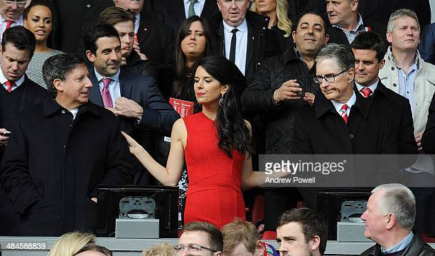 John W Henry principle owner of Liverpool his wife Linda Pizzuti and chairman Tom Werner attend the Barclays Premier Leuage match between Liverpool...
